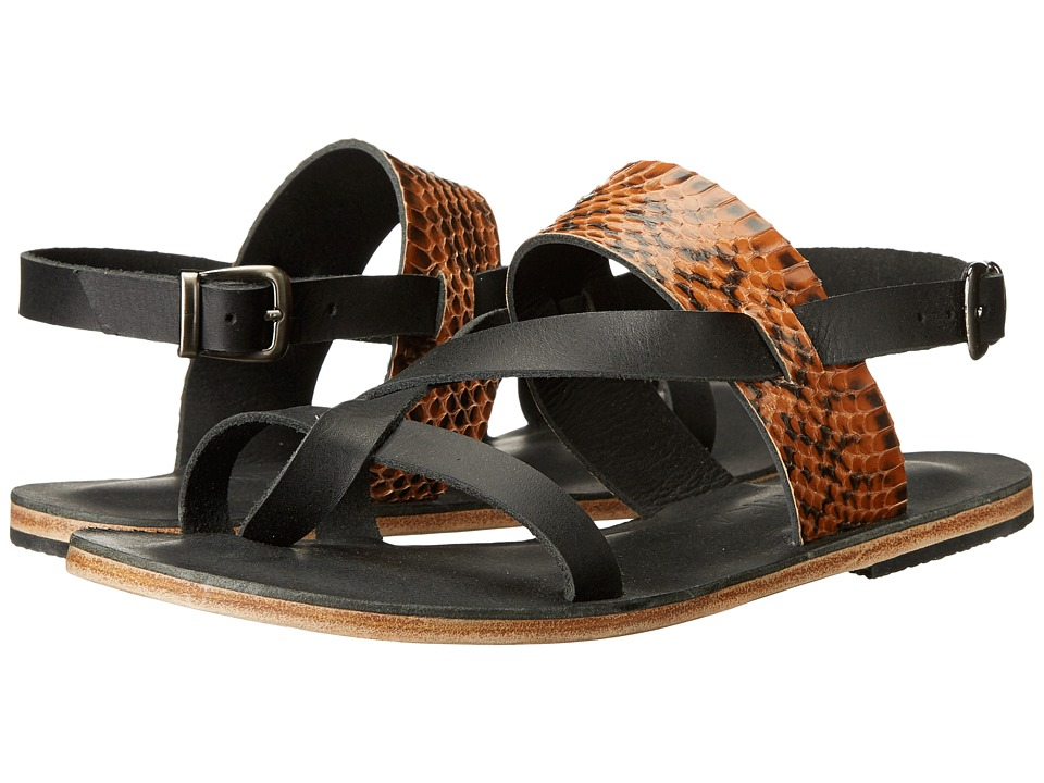 Jerusalem Sandals - Doheny Drive - Antika Collection (Black/Tan Snake) Women's Shoes