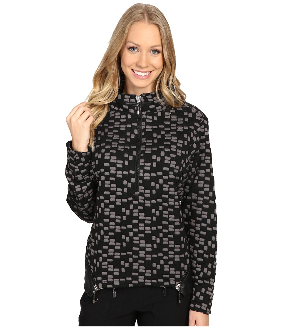 Jamie Sadock - Toasties Cube Print 1/4 Zip Pullover (Black) Women's Clothing