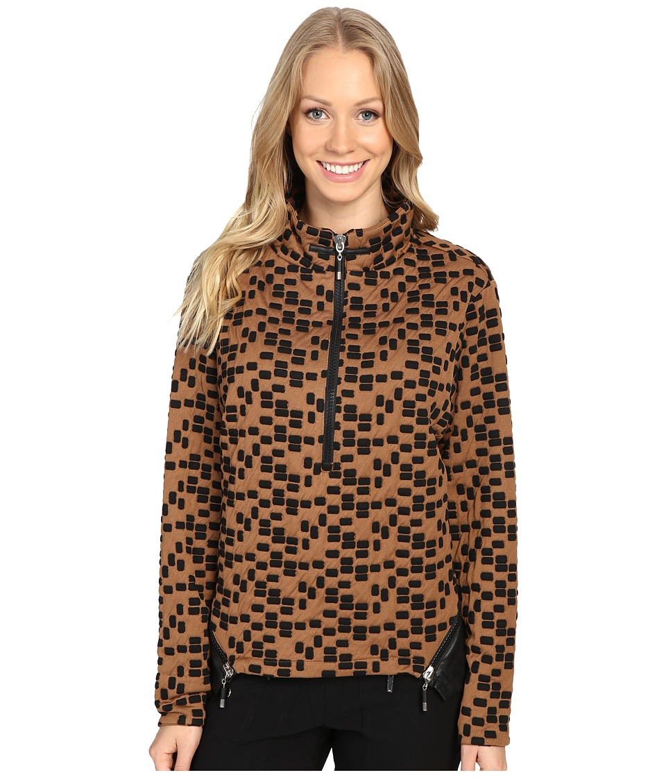 Jamie Sadock - Toasties Cube Print 1/4 Zip Pullover (Chestnut) Women's Clothing