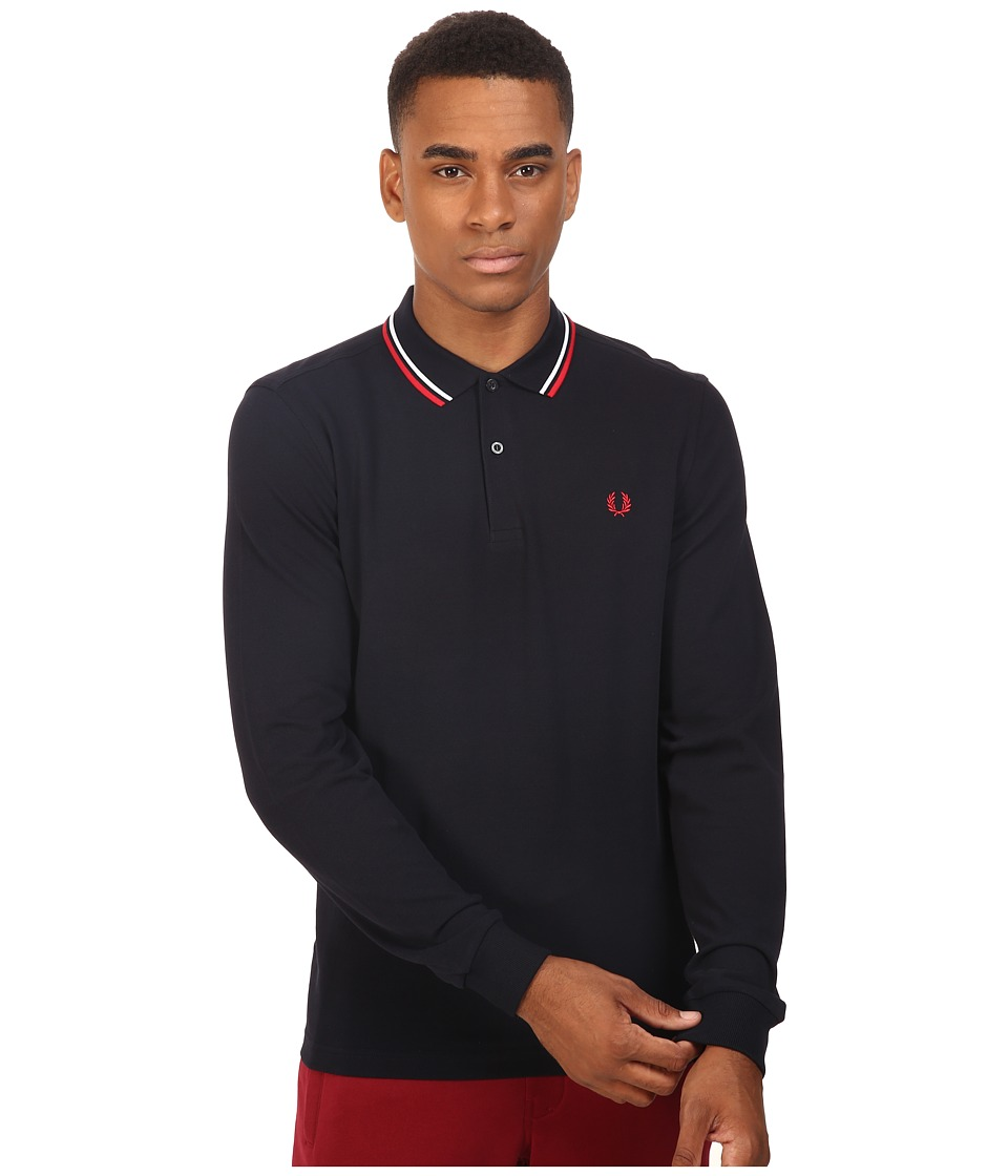Fred Perry - Long Sleeve Twin Tipped Shirt (Navy/White/Red) Men's Clothing