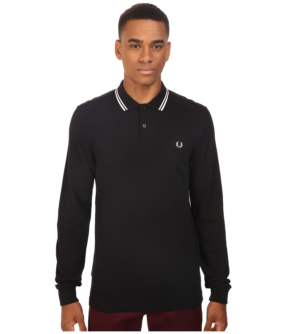 Fred Perry - Long Sleeve Twin Tipped Shirt (Black/Porcelain/Porcelain) Men's Clothing