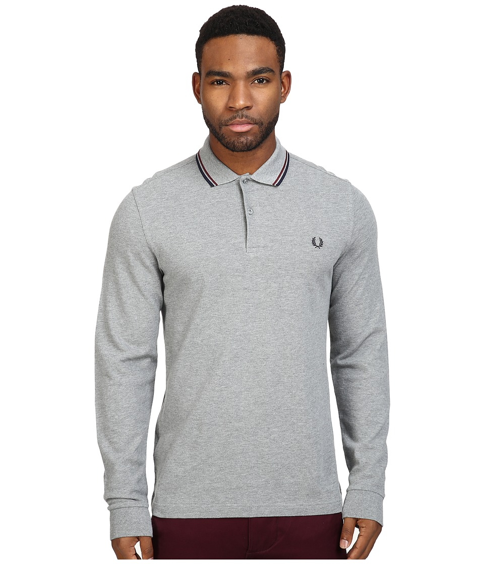 Fred Perry - Long Sleeve Twin Tipped Shirt (Steel Marl/Port/Navy) Men's Clothing