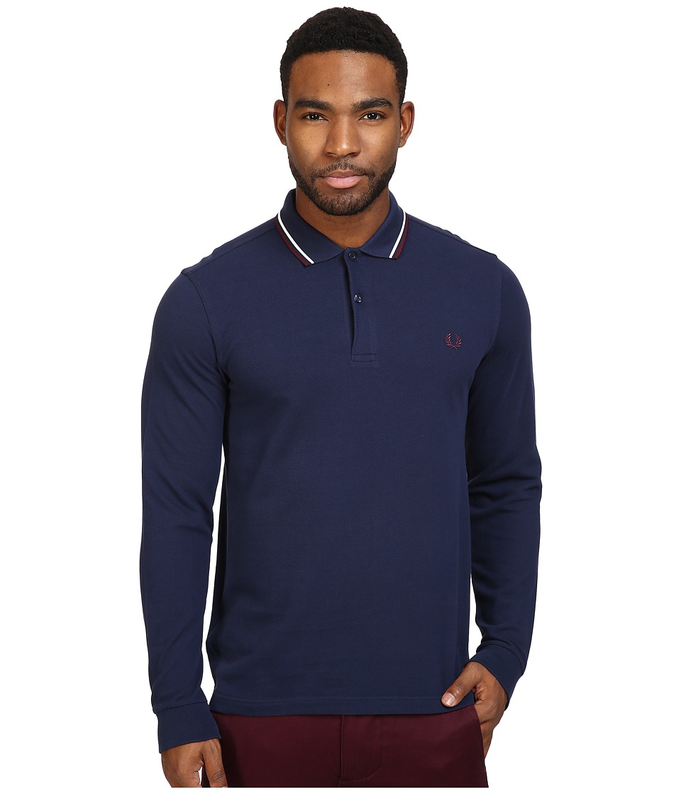 Fred Perry - Long Sleeve Twin Tipped Shirt (Carbon Blue/Ecru/Mahogany) Men's Clothing