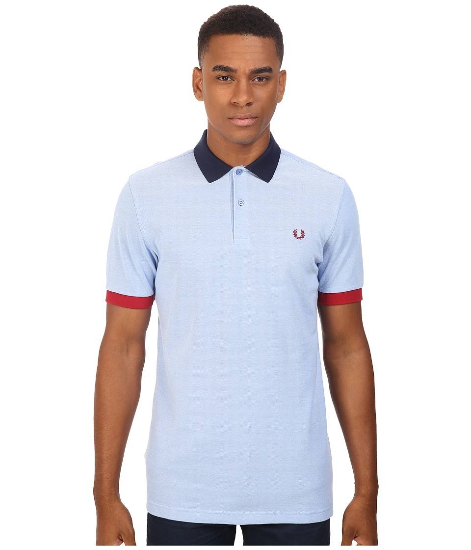 Fred Perry - Color Block Pique Shirt (Light Smoke Oxford) Men's Short Sleeve Knit