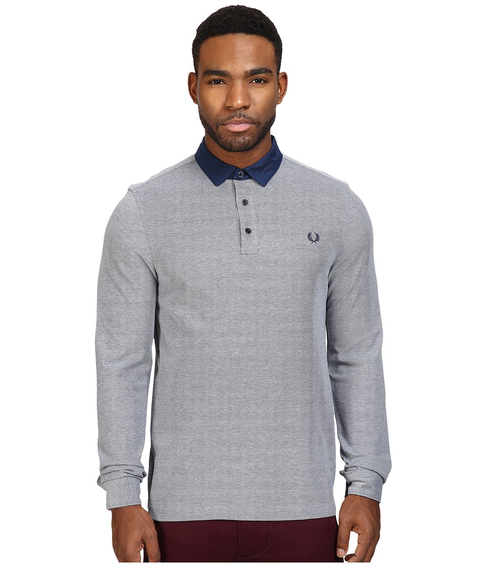 Fred Perry - Oxford Collar Trim Pique Shirt (Dark Carbon Oxford) Men's Clothing