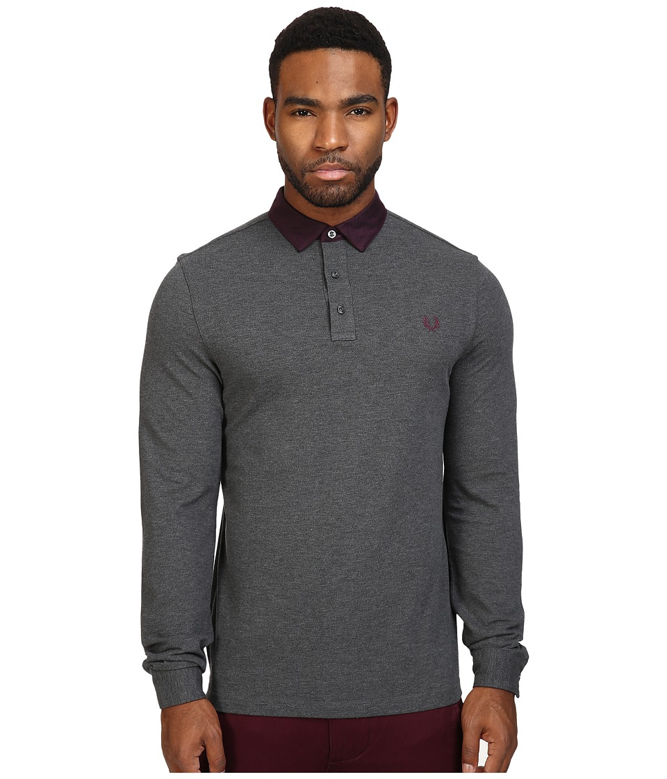 Fred Perry - Oxford Collar Trim Pique Shirt (Graphite Marl) Men's Clothing