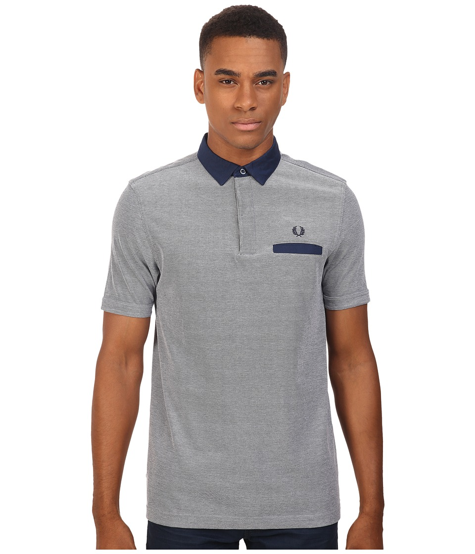 Fred Perry - Oxford Trim Collar Pique Shirt (Dark Carbon Oxford) Men's Short Sleeve Knit