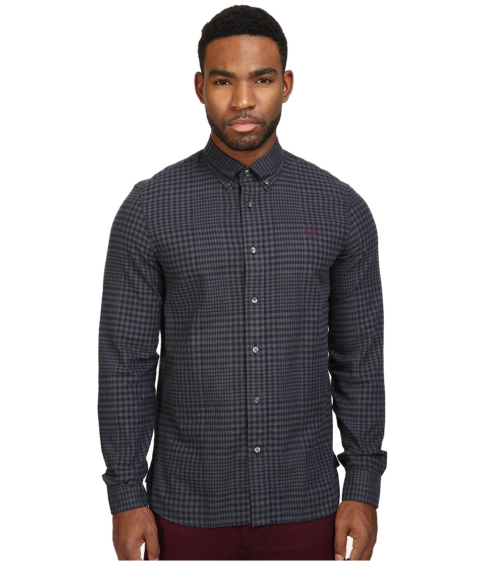 Fred Perry - Distorted Gingham Twill Shirt (Graphite Marl) Men's Clothing