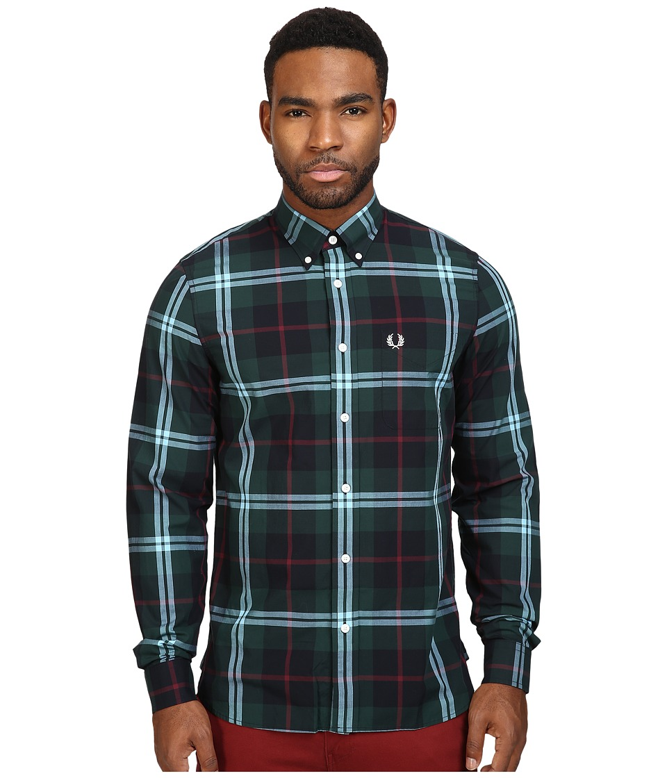 Fred Perry - Bold Check Shirt (Carbon Blue) Men's Clothing