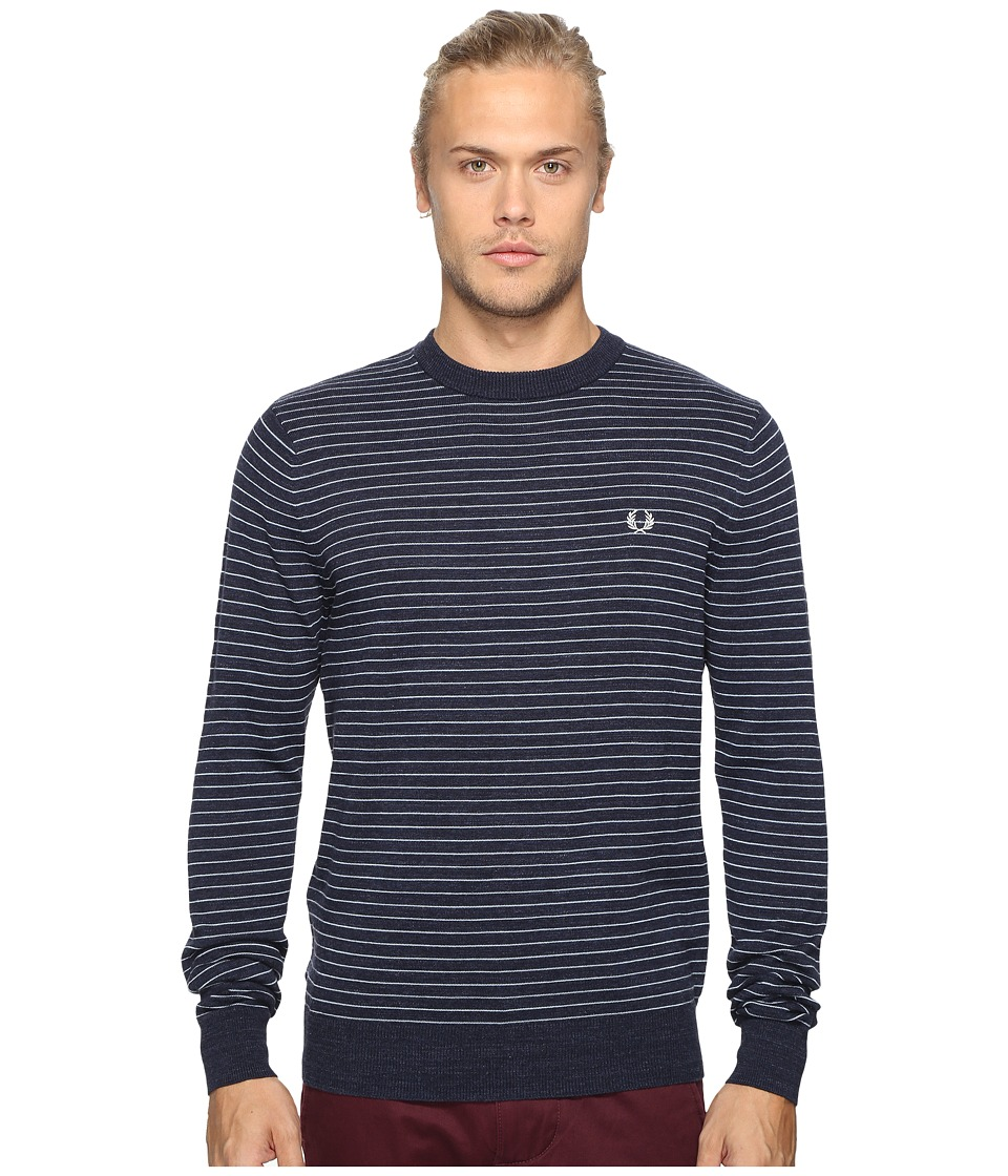 Fred Perry - Textured Yarn Stripe Crew Neck (Dark Carbon) Men's Clothing