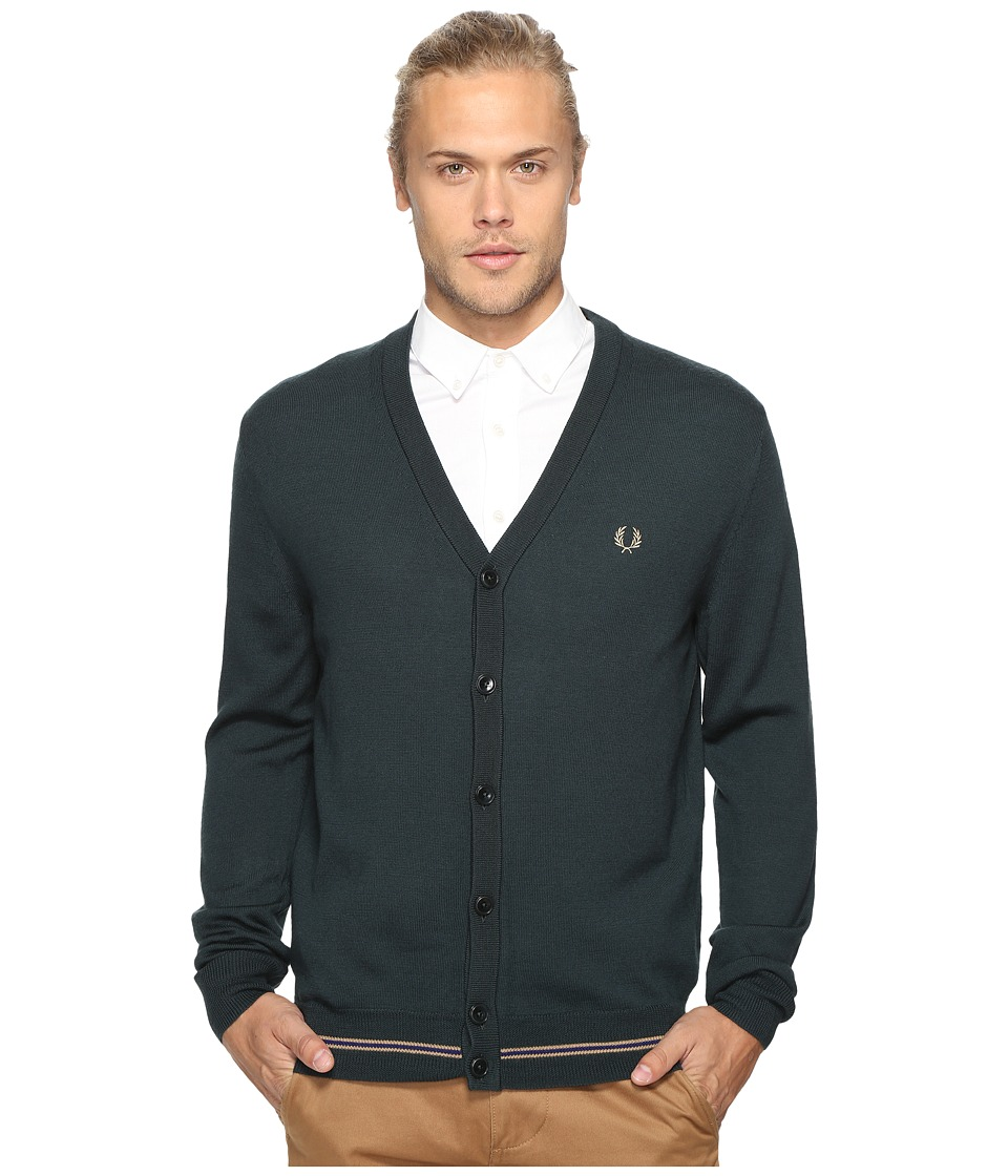 Fred Perry - Tipped Merino Cardigan (British Racing Green) Men's Sweater
