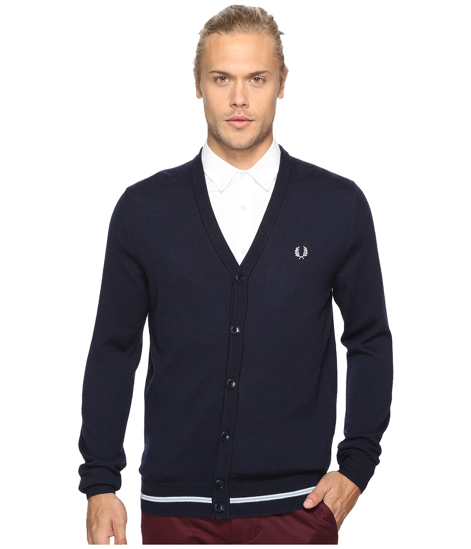Fred Perry - Tipped Merino Cardigan (Dark Carbon) Men's Sweater
