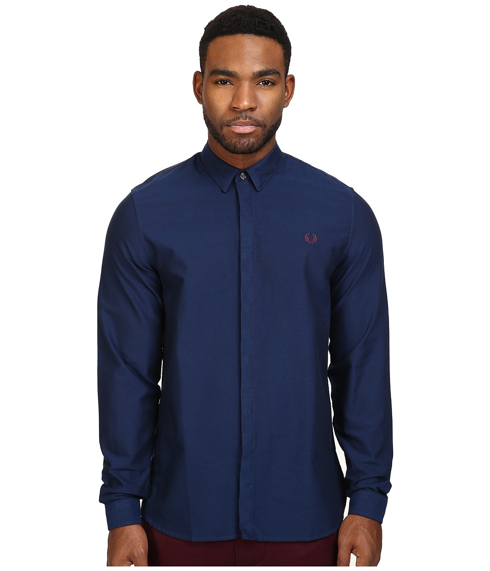 Fred Perry - Concealed Placket Oxford Shirt (French Navy) Men's Clothing