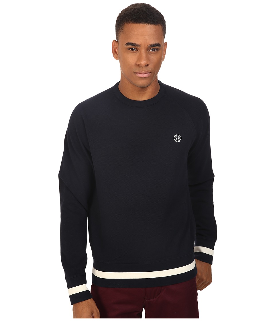 Fred Perry - Crew Neck Sweat (Navy) Men's Long Sleeve Pullover