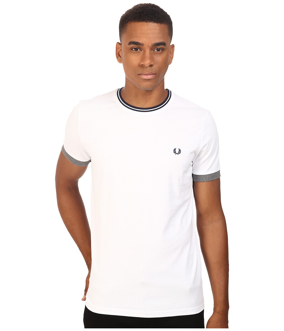 Fred Perry - Tipped Ringer T-Shirt (White) Men's T Shirt