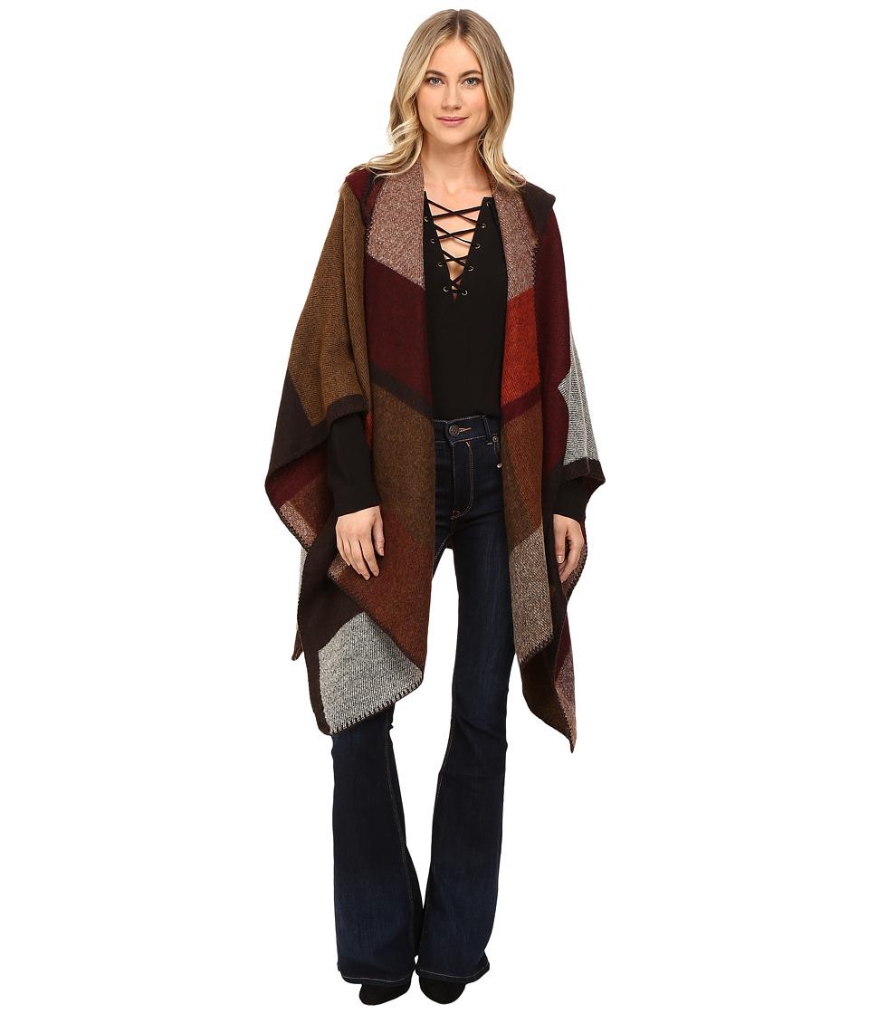 Brigitte Bailey - Endeared Poncho Coat (Wine/Brown Combo) Women's Coat