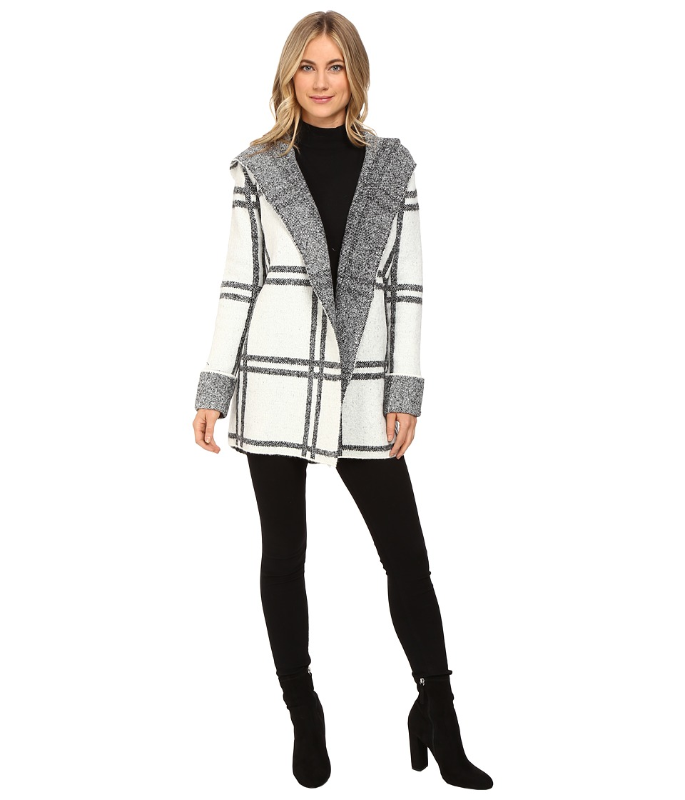 Brigitte Bailey - Cherished Plaid Coat (Off-White/Black) Women's Coat