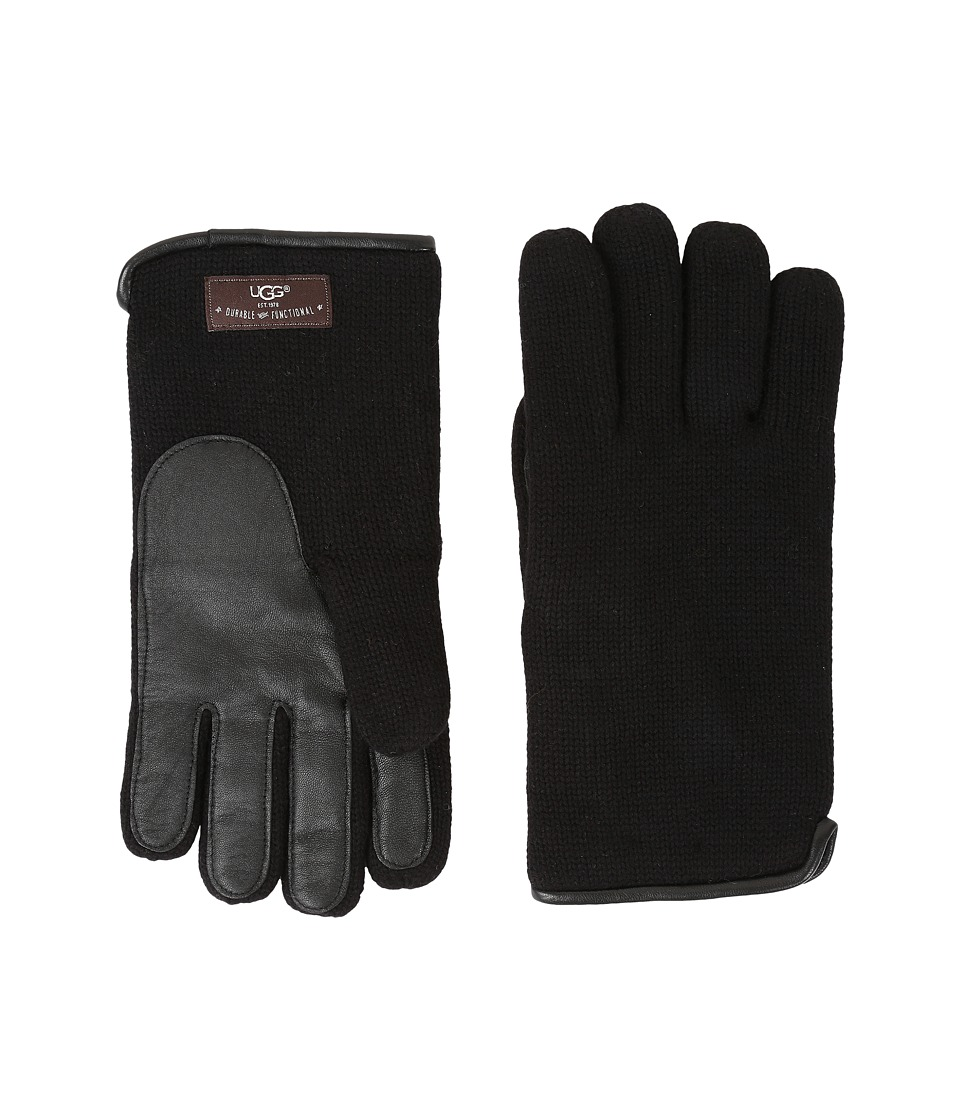 UGG - Knit Tech Solid Gloves (Black) Wool Gloves