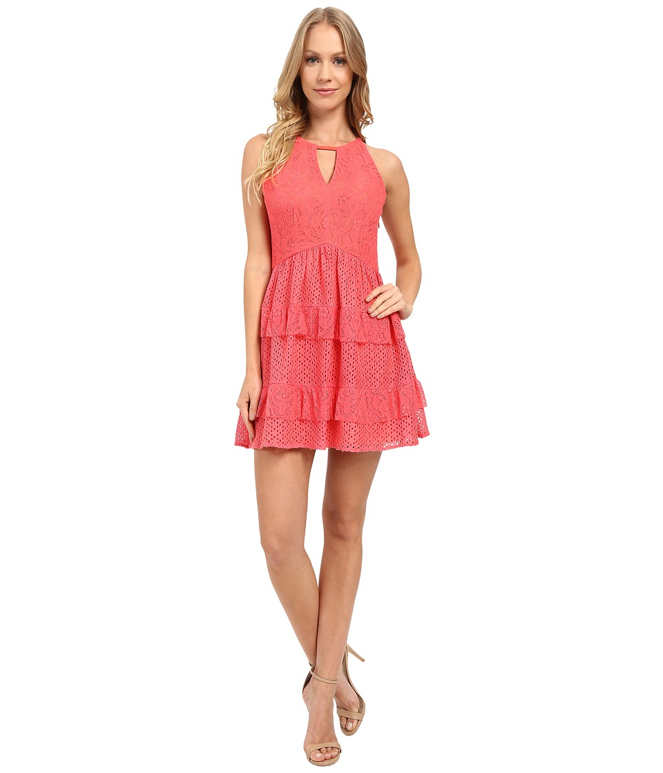 Adelyn Rae Lace Ruffle Dress (Coral) Women