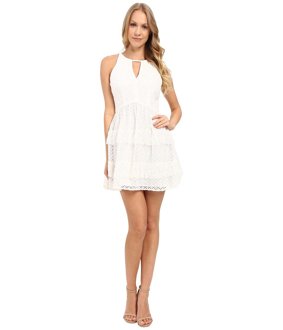 Adelyn Rae Lace Ruffle Dress (White) Women