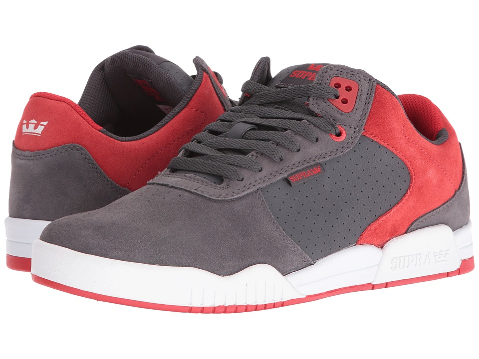 Supra - Ellington (Dark Grey Suede/Red/White) Men's Shoes