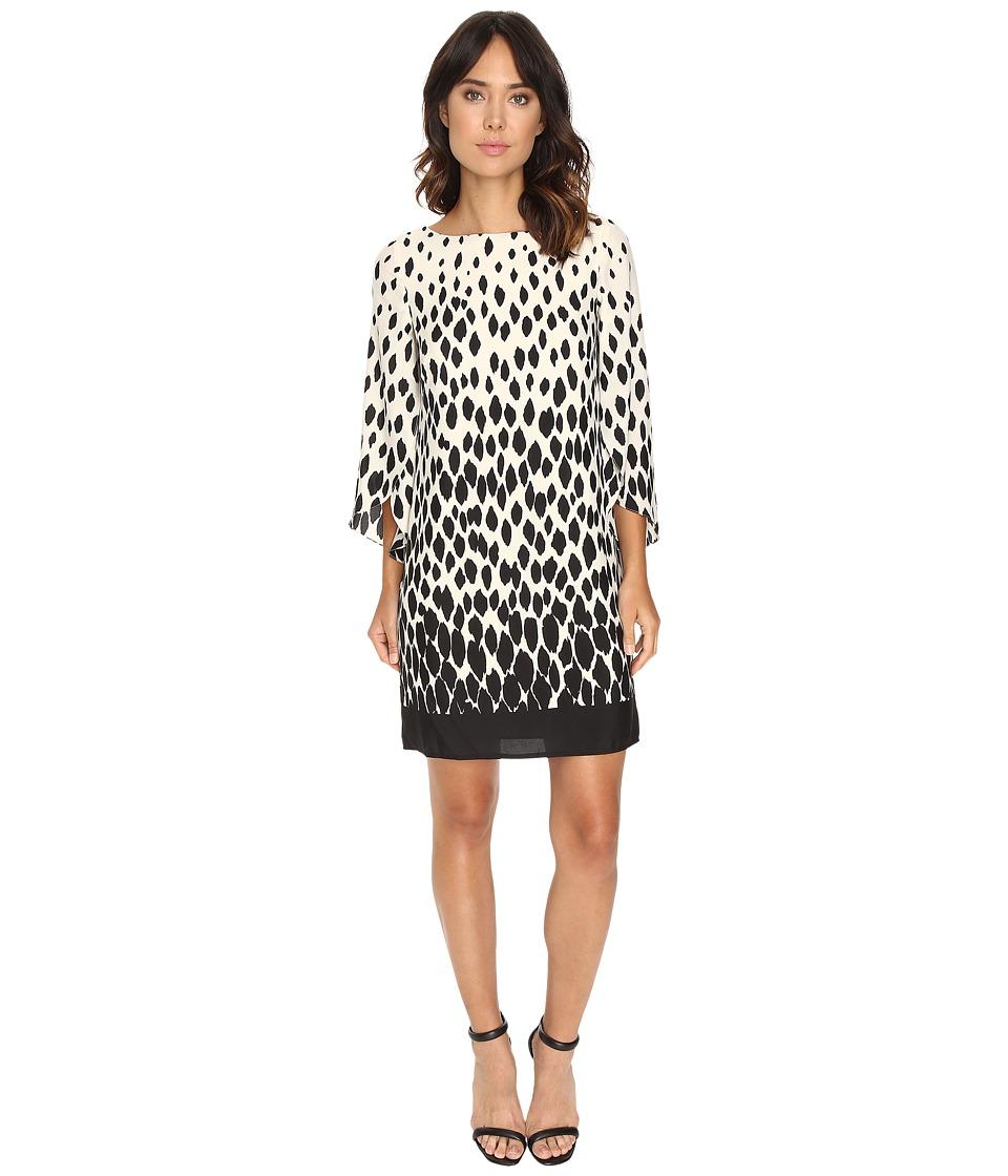 Tahari by ASL - Split Sleeve Gradient Print Shift Dress (Ivory/Black) Women's Dress