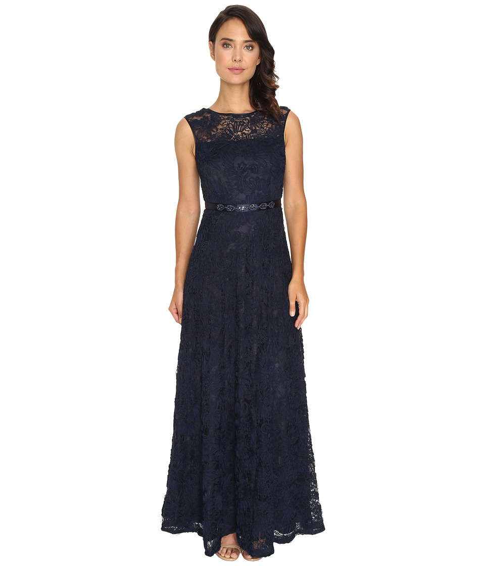 Tahari by ASL - Illusion Neckline Column Gown (Navy) Women's Dress