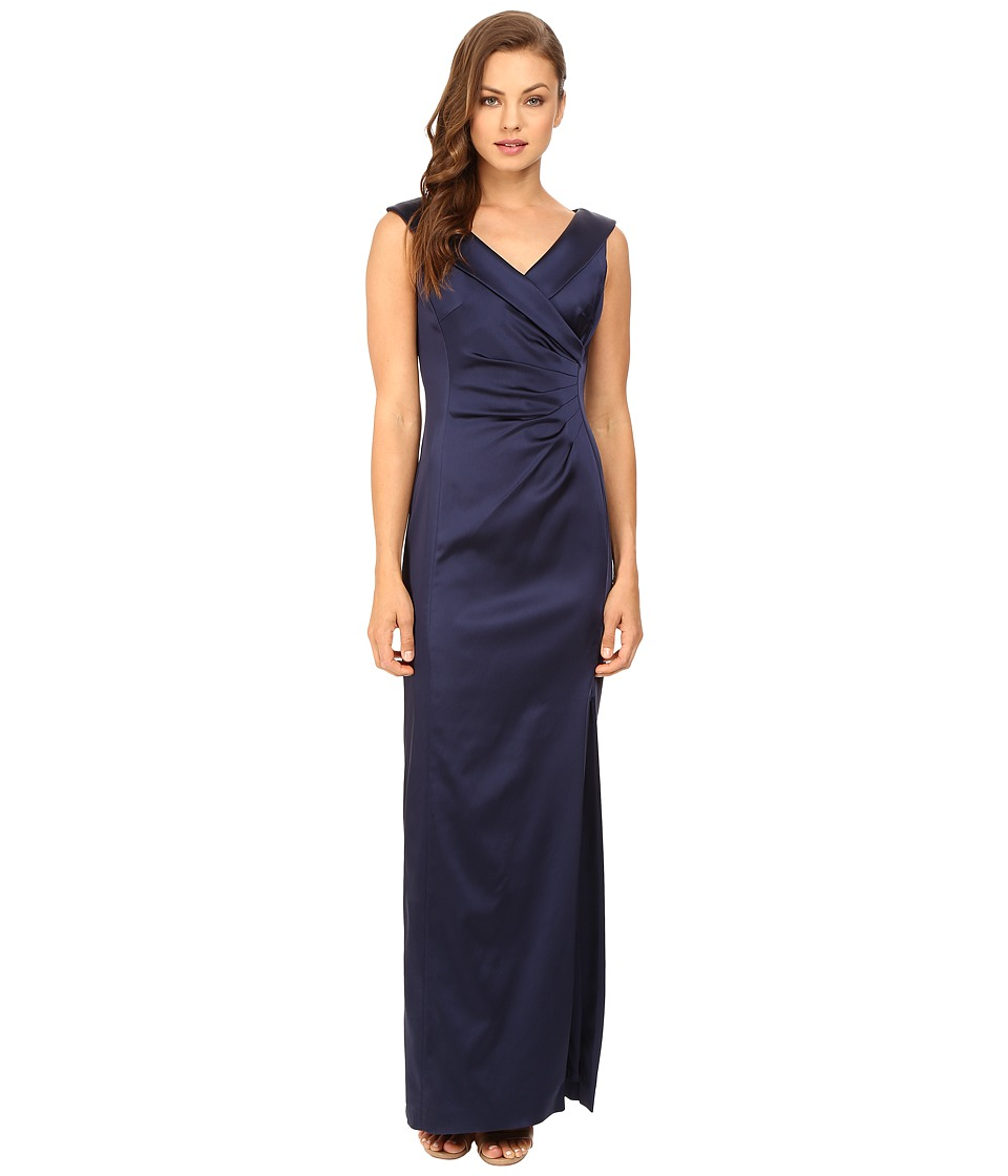 Tahari by ASL - Portrait Collar w/ Side Ruche Dress (Navy) Women's Dress