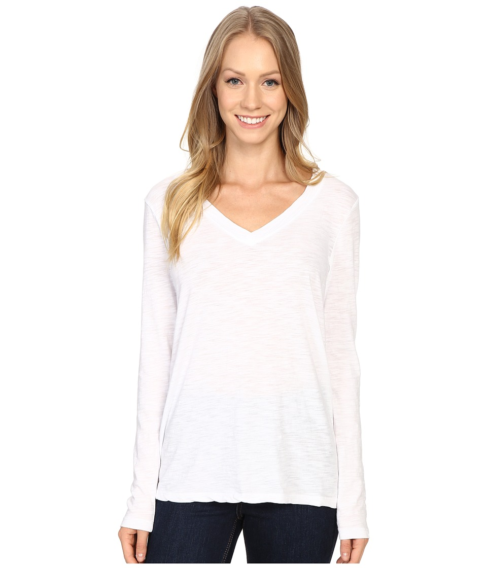 Dylan by True Grit - Gauzy Cotton Long Sleeve V-Neck Tee (White) Women's Long Sleeve Pullover