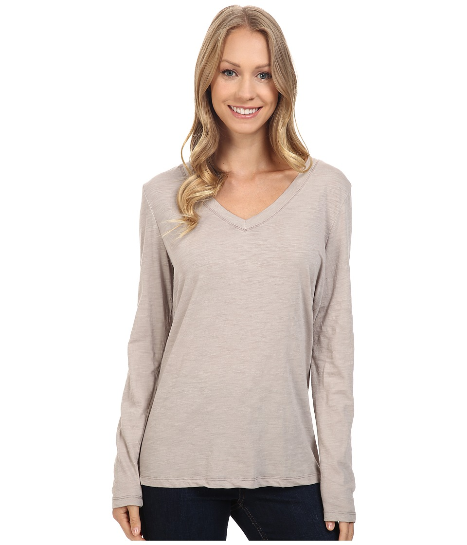 Dylan by True Grit - Gauzy Cotton Long Sleeve V-Neck Tee (Heather) Women's Long Sleeve Pullover