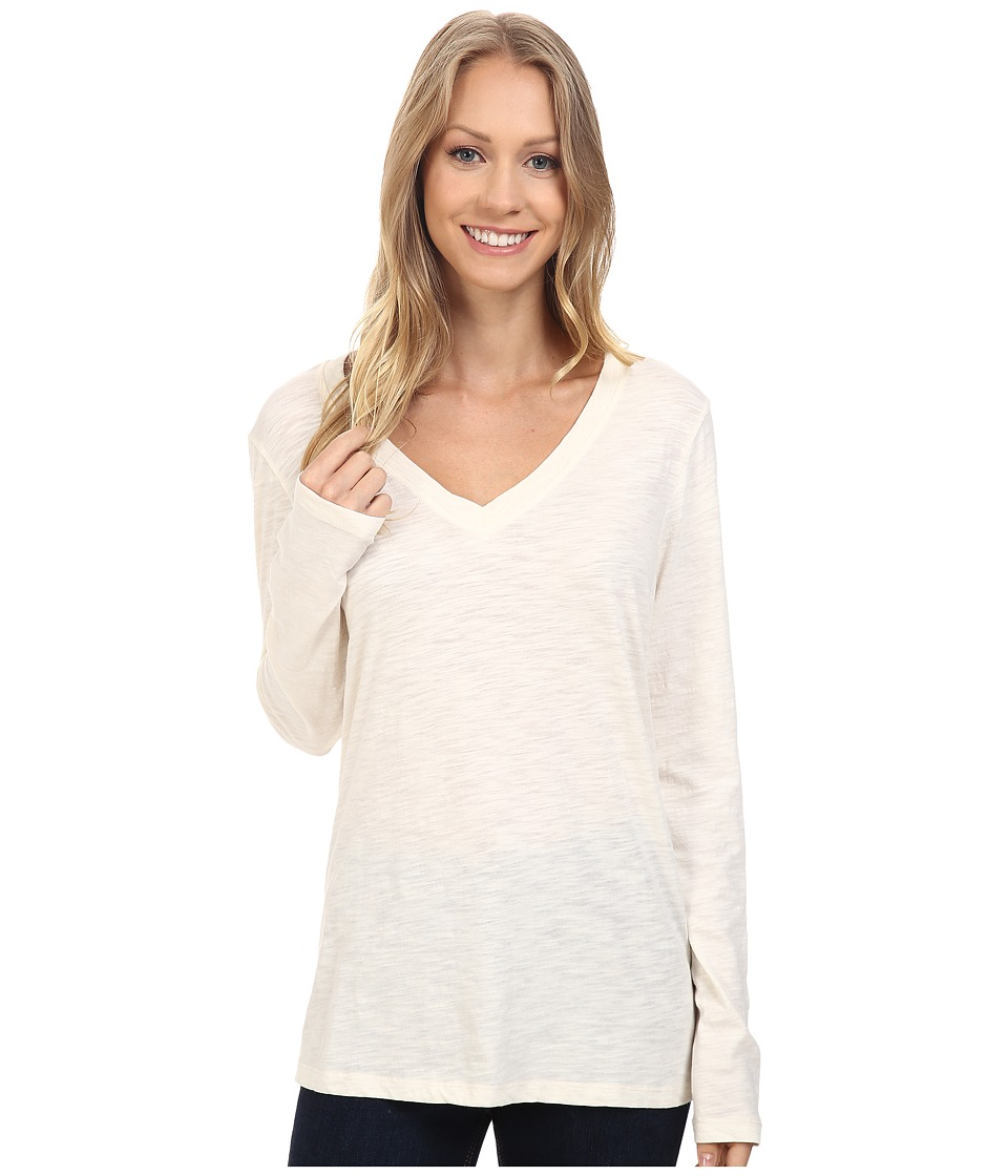 Dylan by True Grit - Gauzy Cotton Long Sleeve V-Neck Tee (Chalk) Women's Long Sleeve Pullover