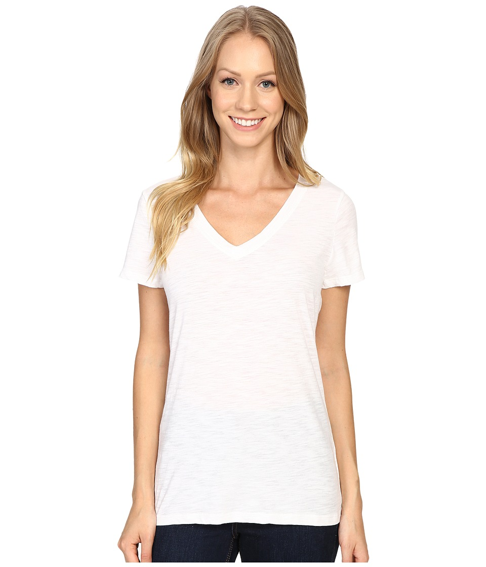 Dylan by True Grit - Gauzy Cotton Short Sleeve V-Neck Tee (White) Women's T Shirt