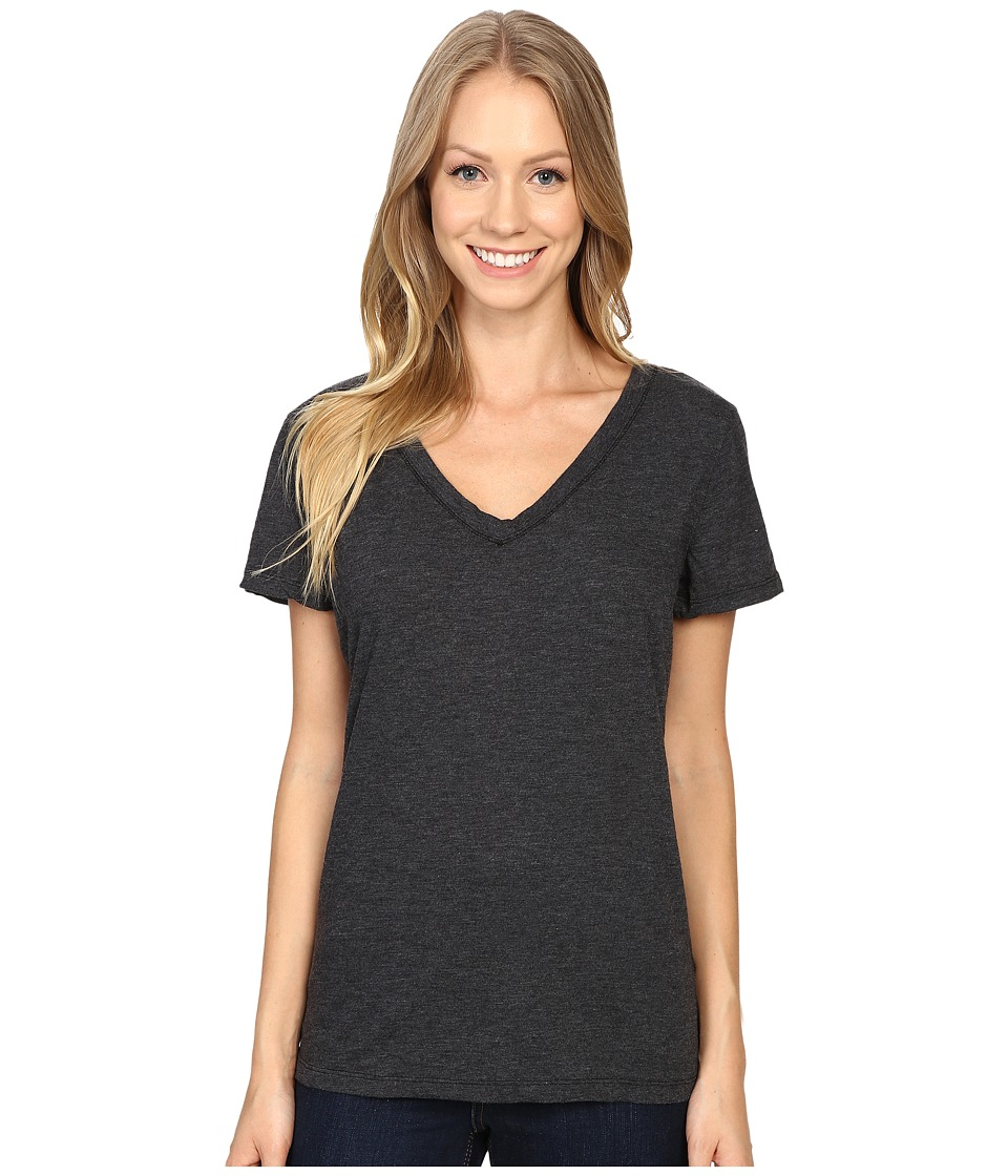 Dylan by True Grit - Gauzy Cotton Short Sleeve V-Neck Tee (Black) Women's T Shirt