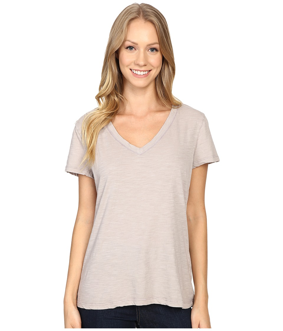 Dylan by True Grit - Gauzy Cotton Short Sleeve V-Neck Tee (Heather) Women's T Shirt