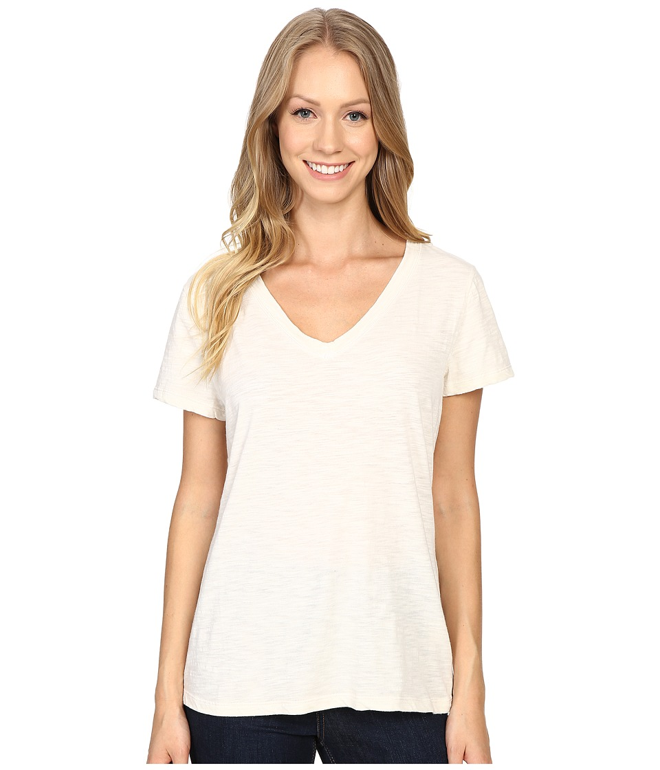 Dylan by True Grit - Gauzy Cotton Short Sleeve V-Neck Tee (Chalk) Women's T Shirt