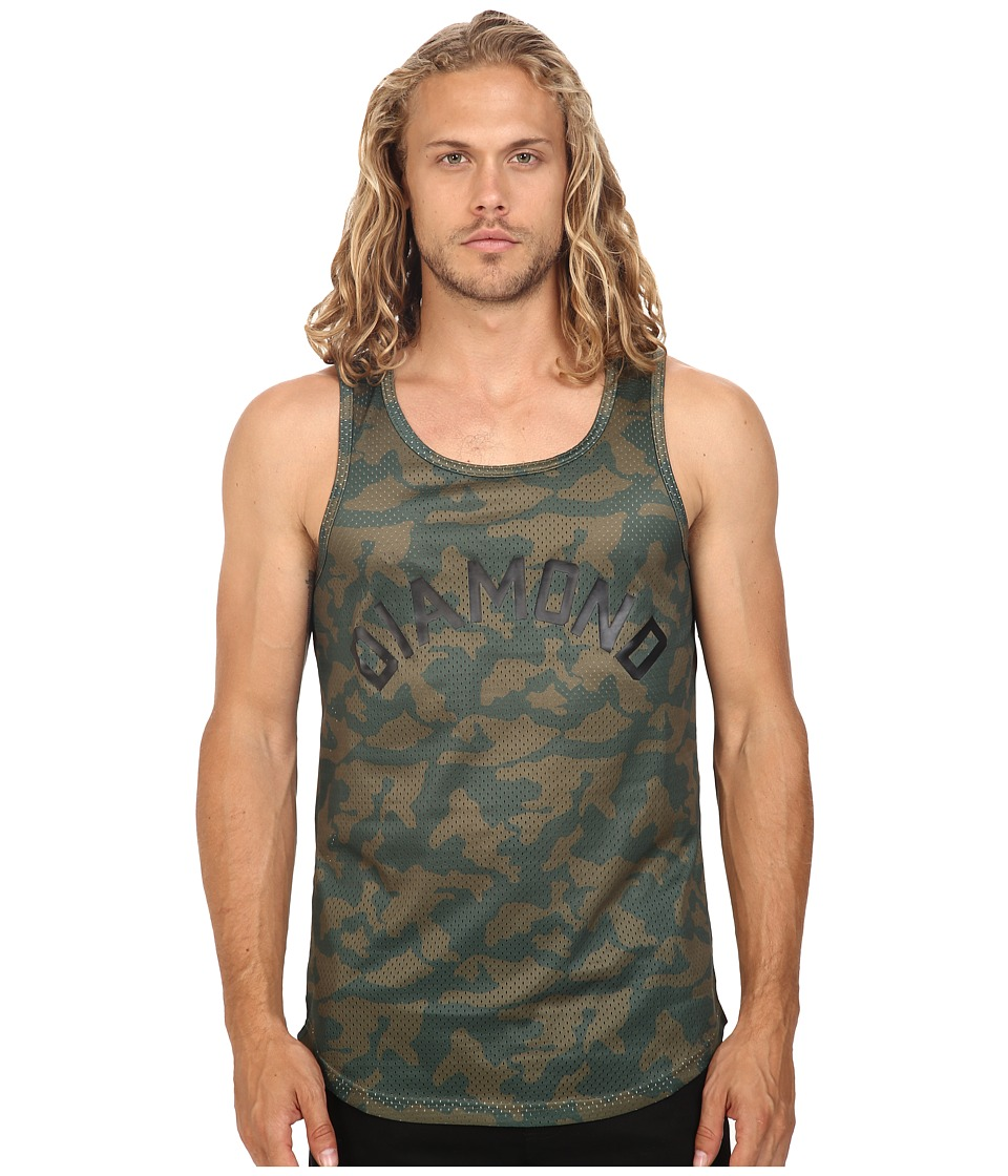Diamond Supply Co. - Diamond Arch Basketball Jersey (Olive Camo) Men's Sleeveless