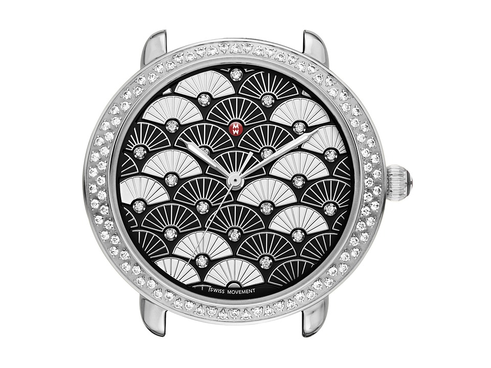 Michele - Serein 16 Diamond, Black Fan Diamond Dial Watch (Black) Watches