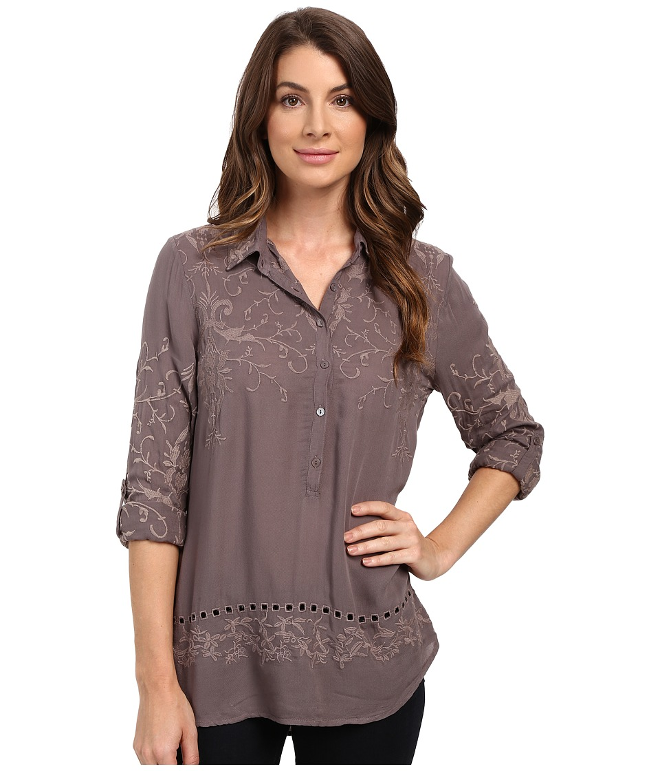 Dylan by True Grit - Embroidered Tunic (Vintage Grey) Women's Clothing