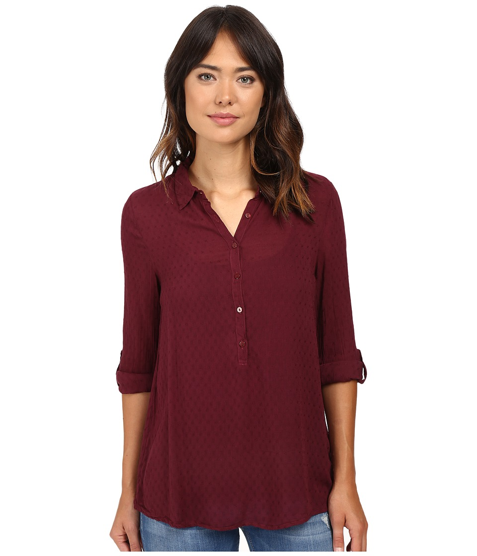 Dylan by True Grit - Dobby Tunic with Roll Sleeves (Claret) Women's Clothing