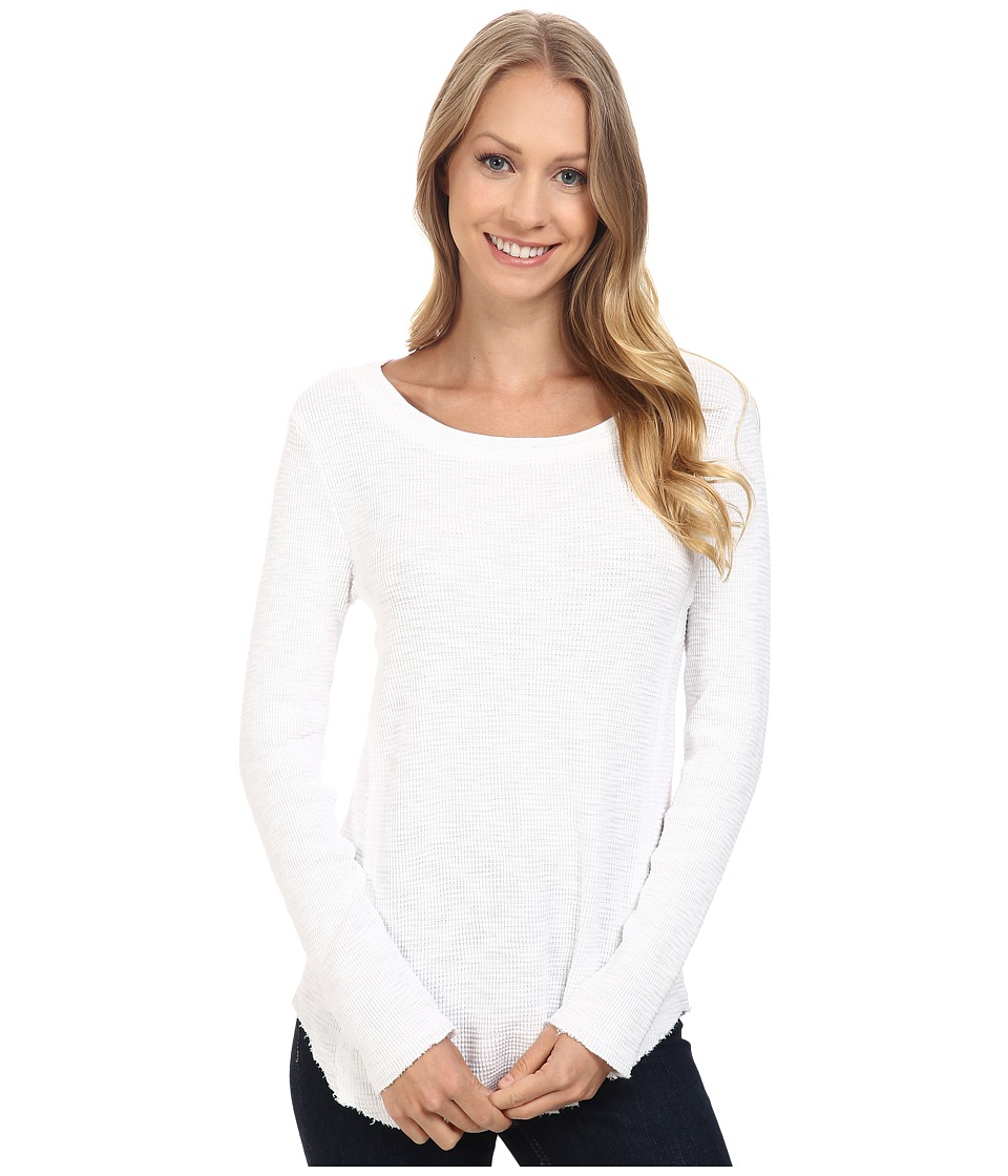 Dylan by True Grit - Softest Slub Waffle Long Sleeve Seamed Thermal Crew (White) Women's Long Sleeve Pullover