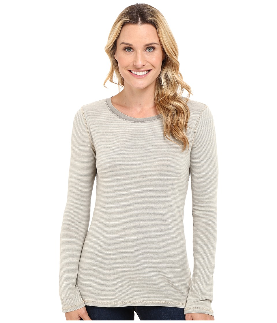 Dylan by True Grit - Micro Slub Stripe Long Sleeve Crew Tee (Khaki) Women's T Shirt