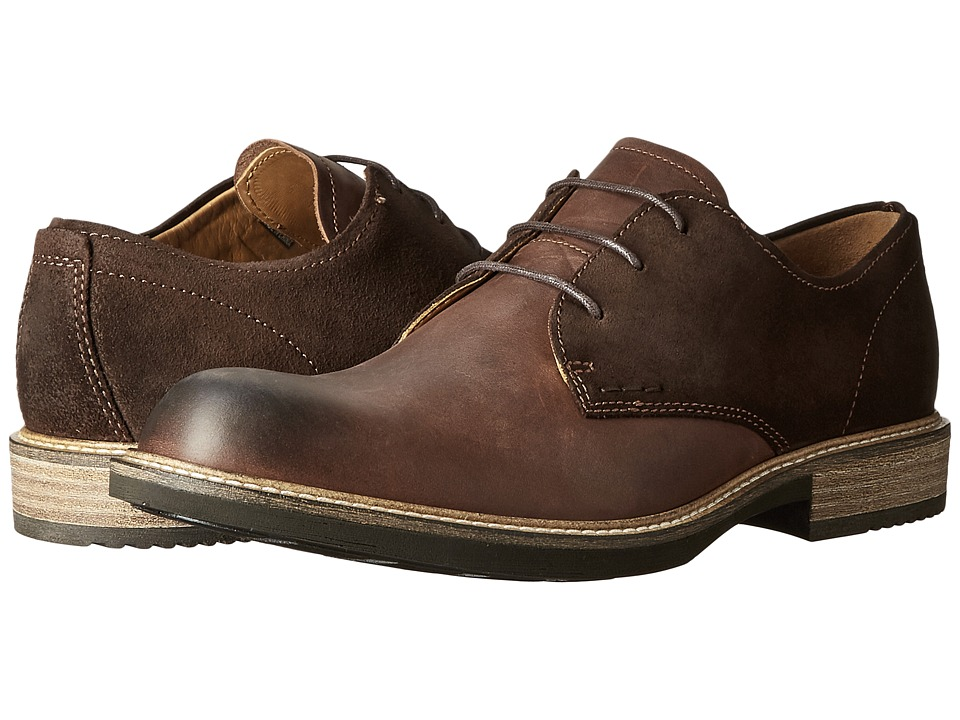 ECCO - Kenton Plain Toe Tie (Mink/Mocha) Men's Plain Toe Shoes