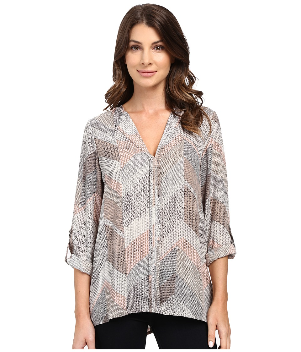 B Collection by Bobeau - Cristy Pleat Back Blouse (Chevron Print) Women's Blouse