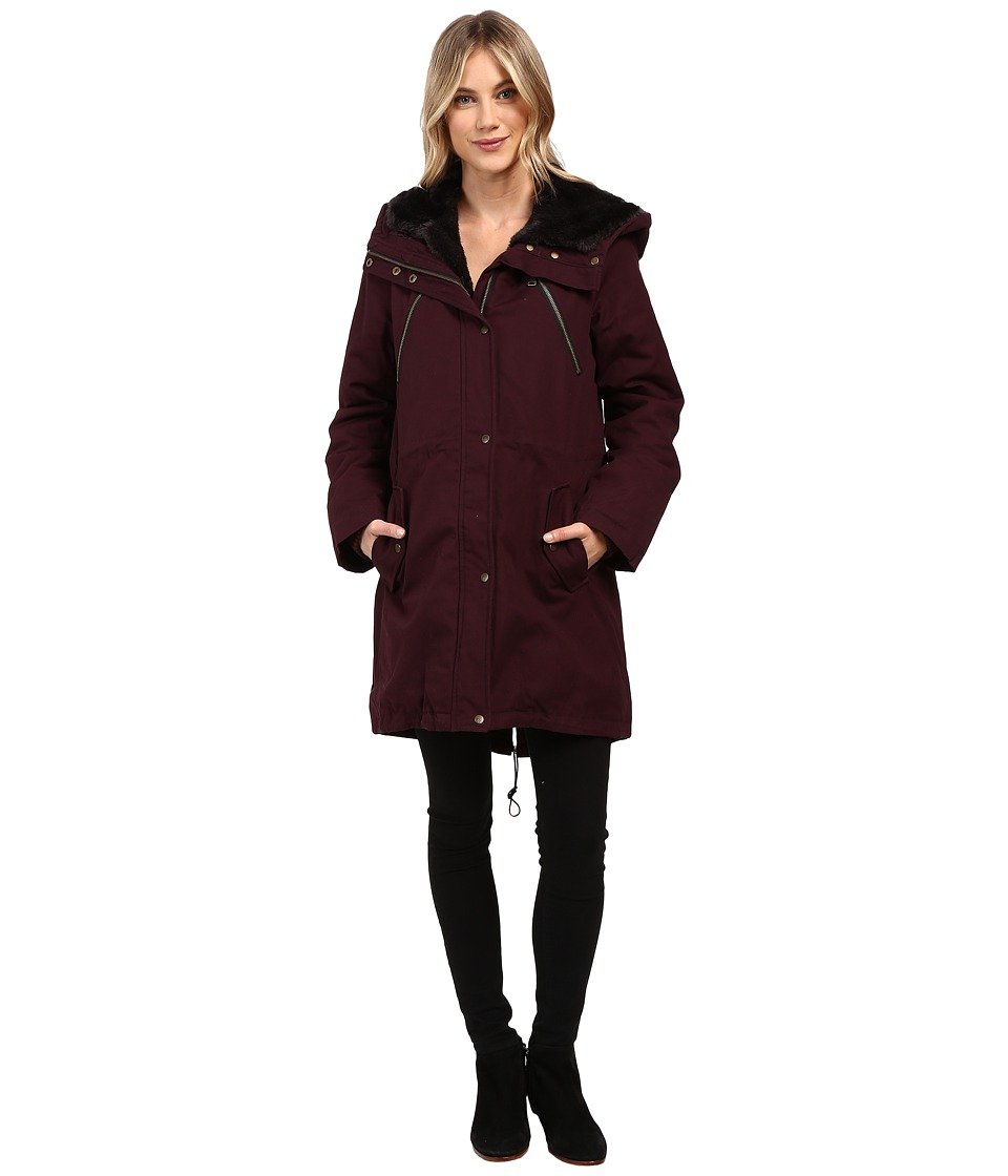 Vince Camuto - Faux Fur Trim Parka L1051 (Wine) Women's Coat