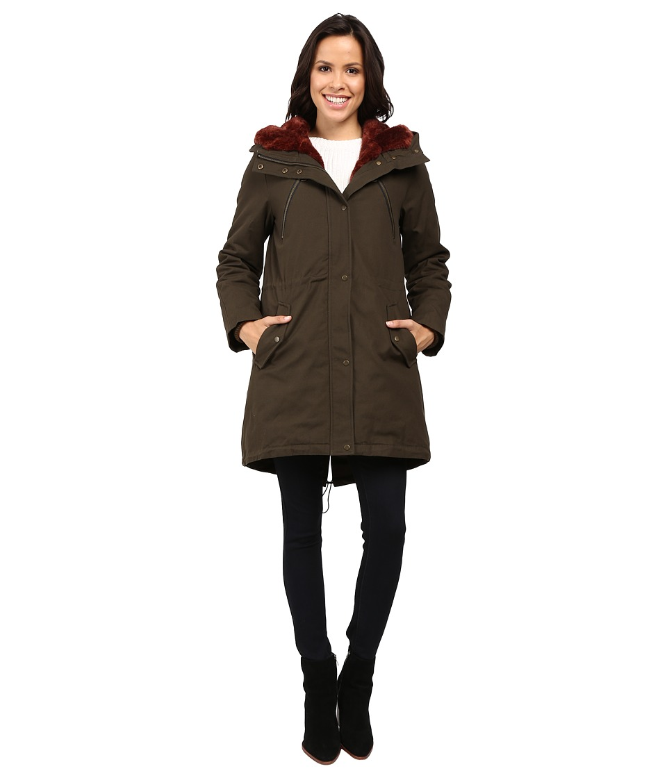 Vince Camuto - Faux Fur Trim Parka L1051 (Olive/Rust) Women's Coat