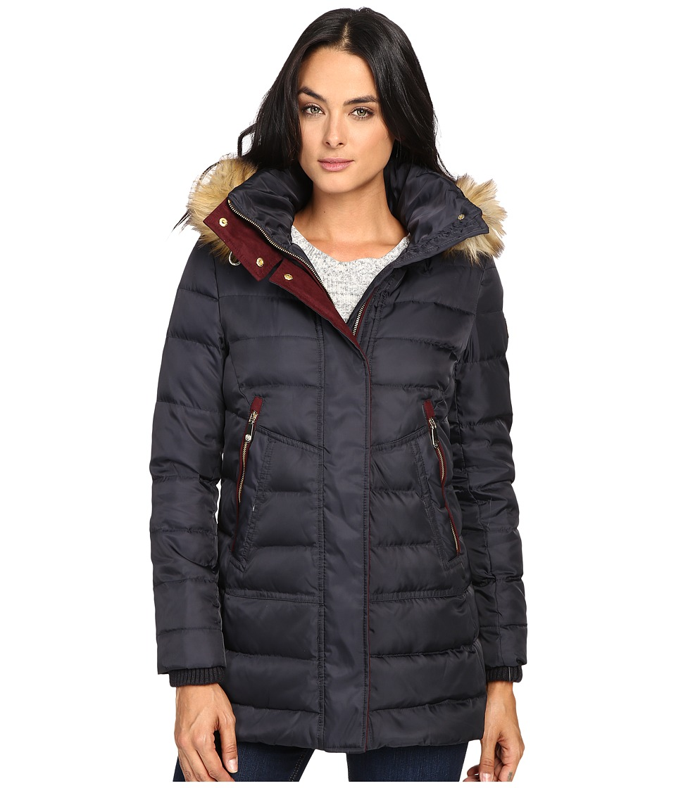 Vince Camuto - Faux Fur Trim Hooded Down L8791 (Navy) Women's Coat