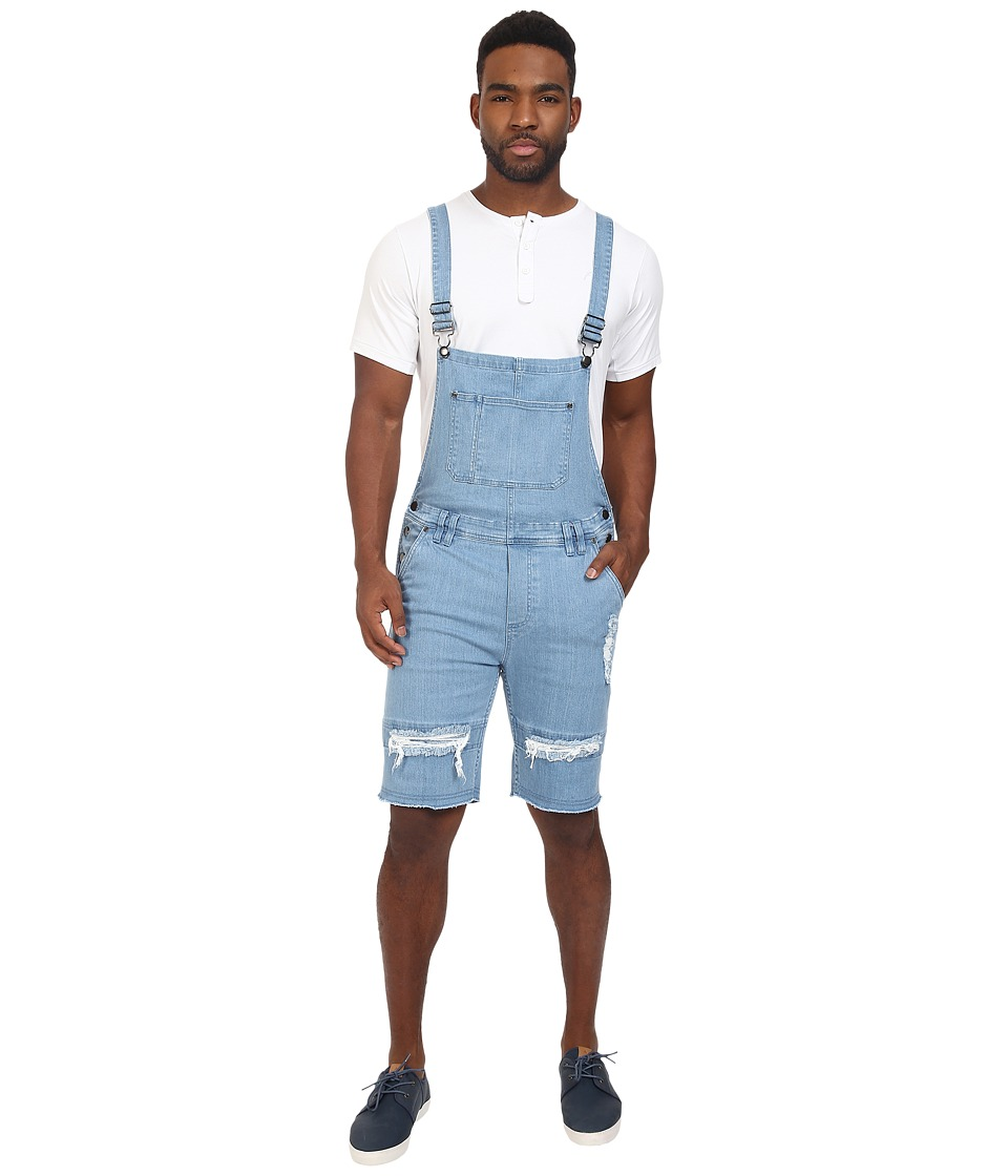 Publish - Fonso - Distressed Stretch Denim Overall Shorts (Light Indigo) Men's Overalls One Piece