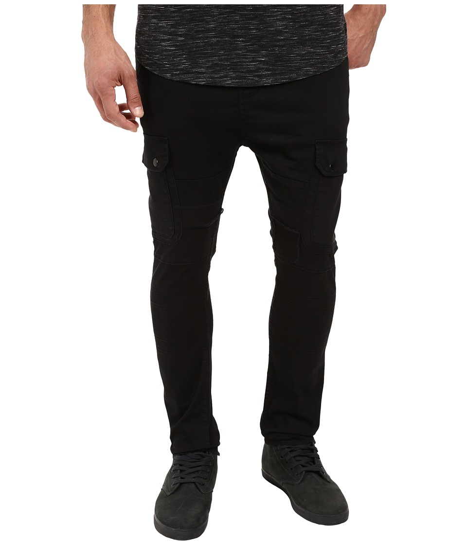 Publish Angus Stretch Twill Drop Stack Fit Cargo Pants (Black) Men