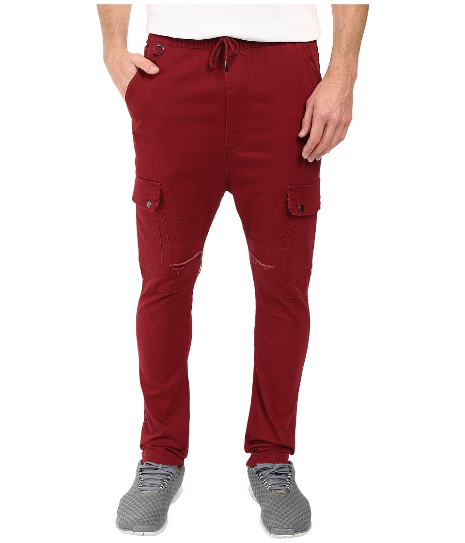 Publish - Angus - Stretch Twill Drop Stack Fit Cargo Pants (Maroon) Men's Casual Pants