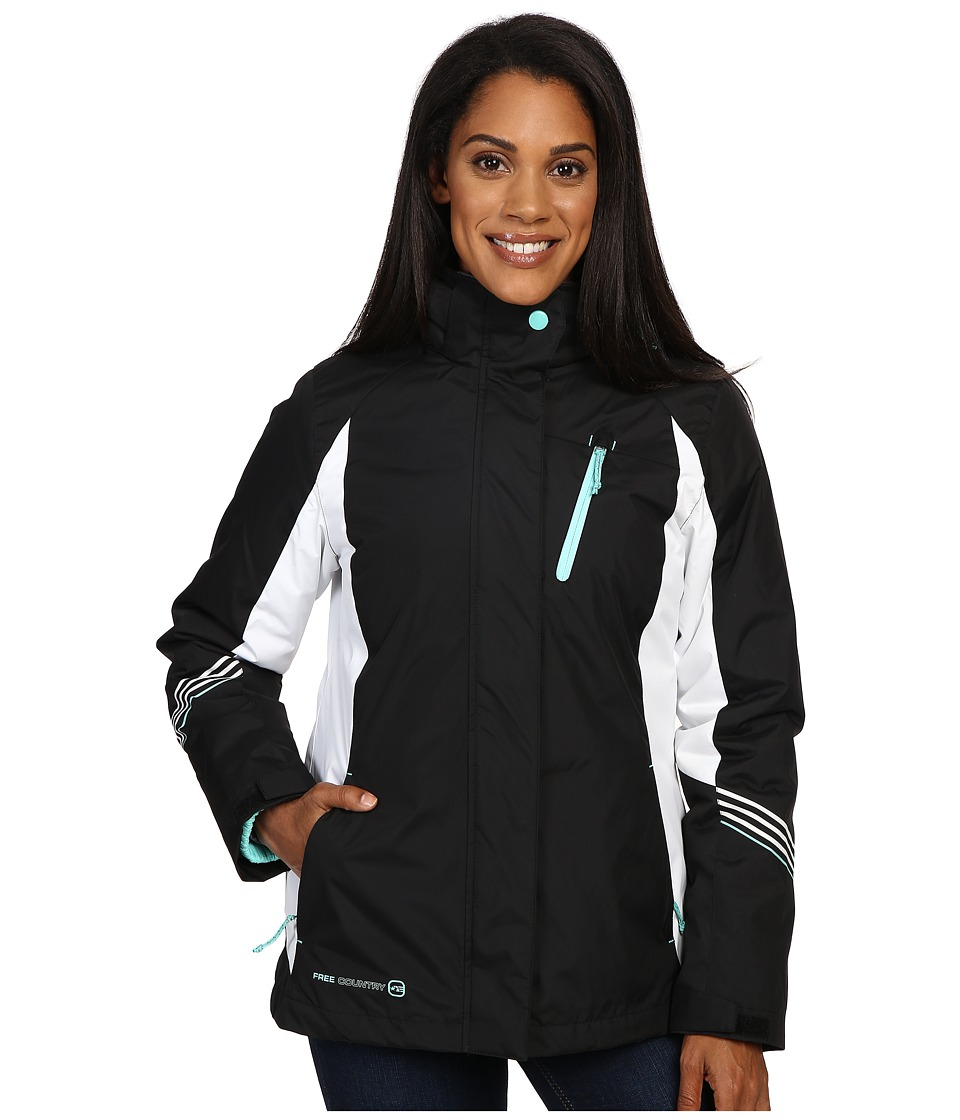 Free Country - Radiance 3-in-1 System Jacket with Detachable Hood (Black/White/Spearmint) Women's Coat